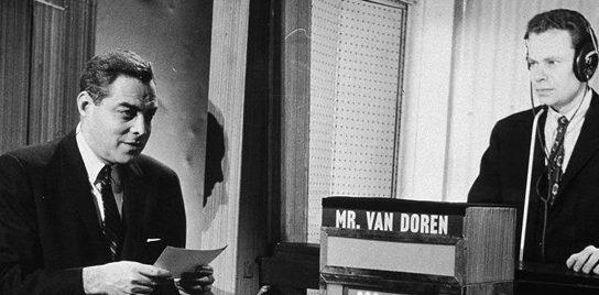 Charles Van Doren appearing on an episode of NBC's Twenty-One in the 1950s