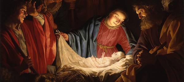 A classic painting of the Nativity featuring the Baby Jesus, Mary, Joseph, and the shepherds.