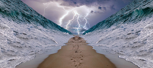 Photo manipulated image of the parting of the Red Sea from the Bible, part of the Israelites' journey to the promised land.