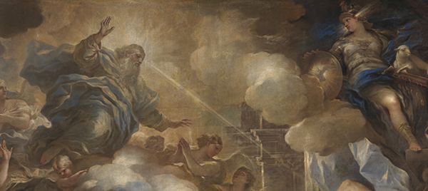 Classic painting of God the Father communicating with Solomon (cropped out) in a dream.