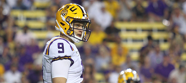 Joe Burrow, LSU quarterback, at a game.