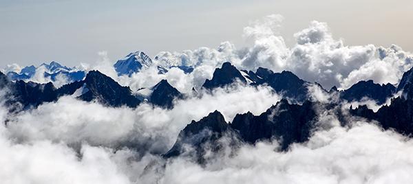 Fog over mountains.