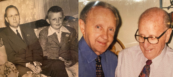 Two photos of John Ed Mathison and his father, one taken when John Ed was a child, one more recently.