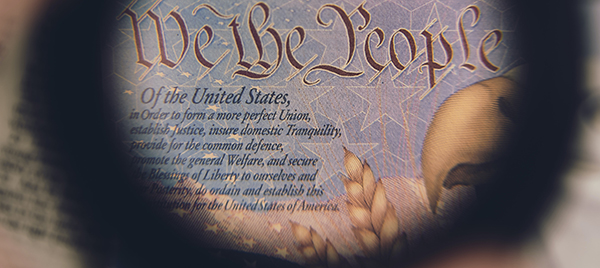 "Excerpt of the Preamble to the Constitution including the phrase ""a more perfect union."""
