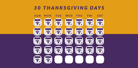 A calendar filled with days of thanksgiving.