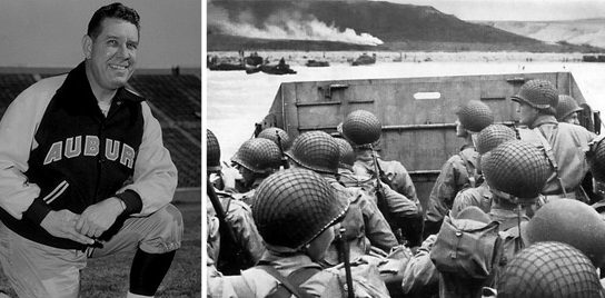 Shug Jordan aside a picture from Omaha Beach during the Normandy invasions.