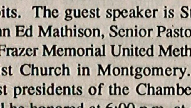 A typo identified John Ed Mathison as a saint.